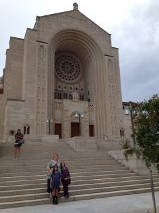 Helen, Olivia, Kelly on the steps of the Basilica of the National Shrine